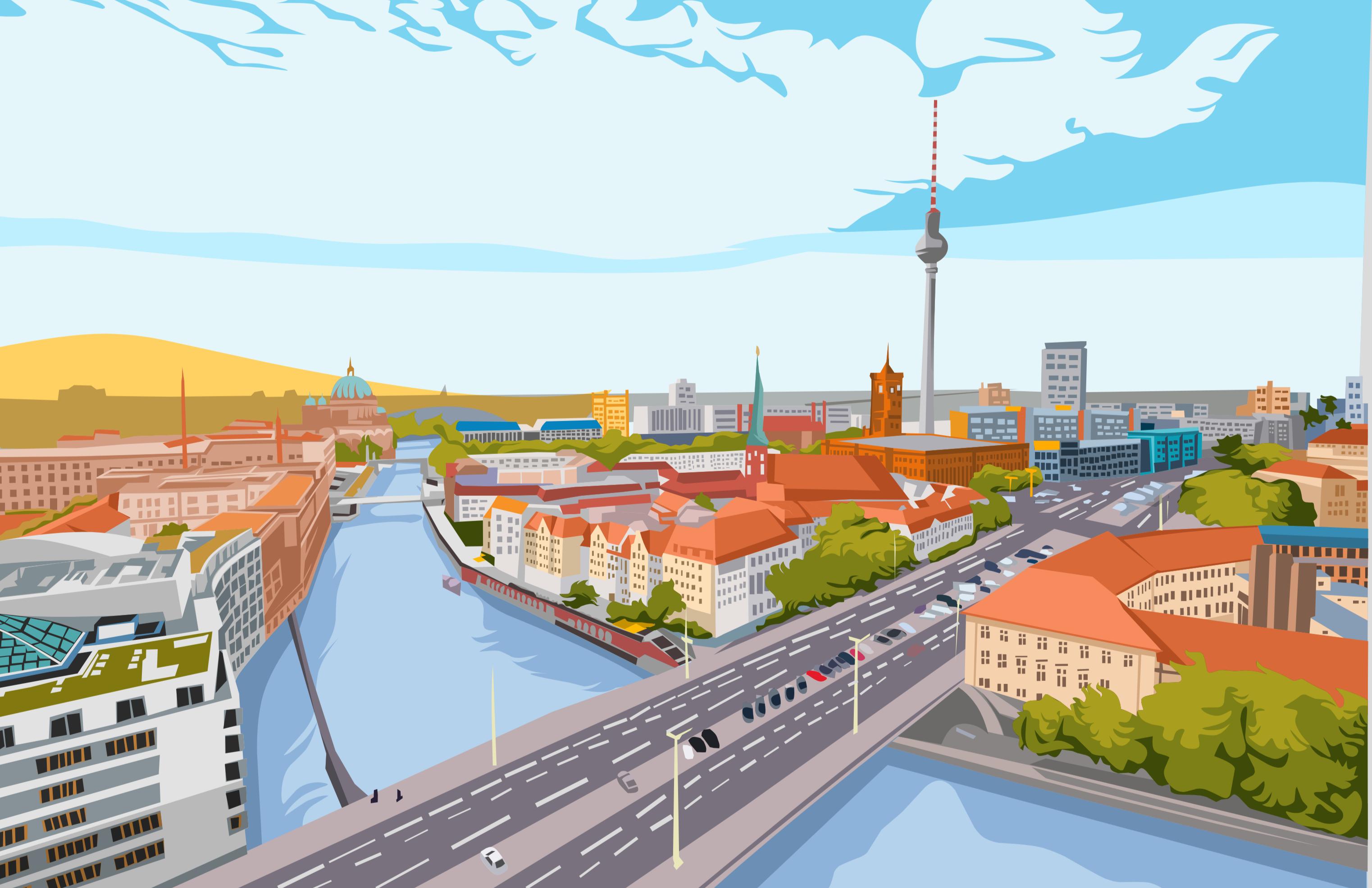 Skyline Berlin Zeichnung