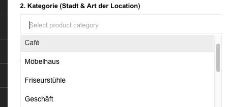 pop-up location kategorie